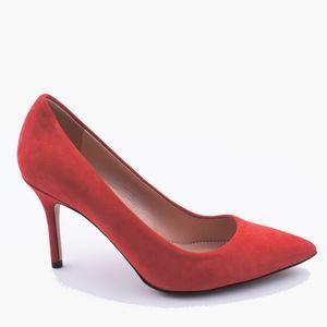 New JCREW Size 6 Red Elsie Suede Pumps